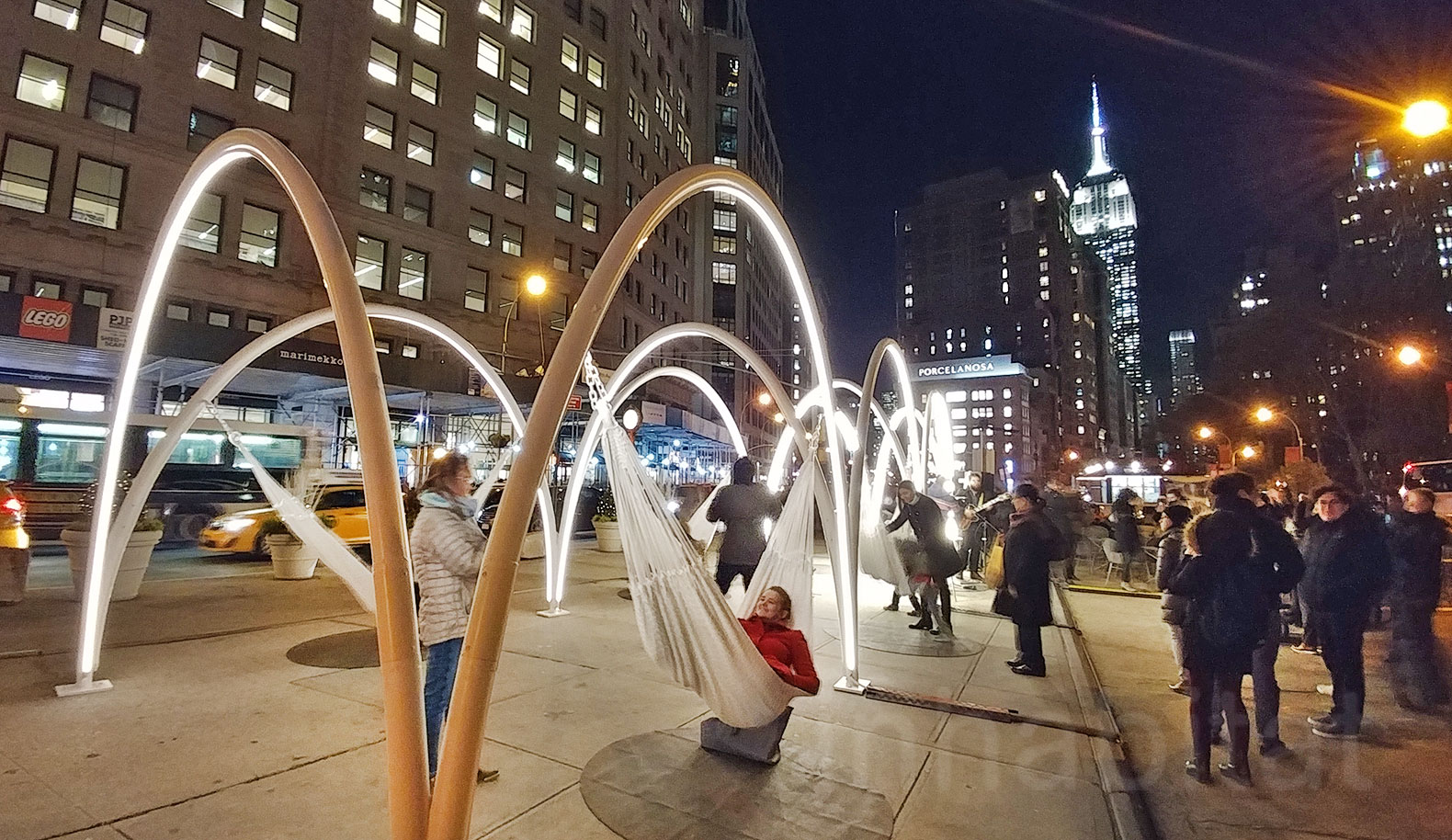 Come swing on these holiday hammocks at the new Flatiron Sky-Line LED light installation