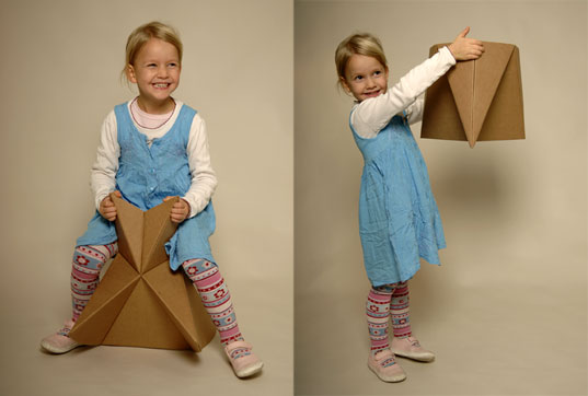 Foldschool 8, Cardboard furniture, DIY furniture, kids furniture, origami furniture, foldup furniture, Nicola Enrico Stäubli, green folding furniture, foldup cardboard furniture for kids, origami cardboard furniture, eco-friendly folding cardboard kids furniture