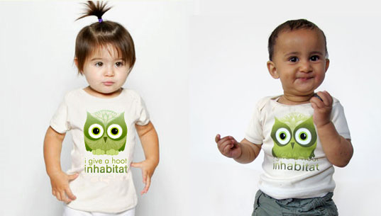 Petey Inhabitots, Habby the owl, Inhabitots shirt, Inhabitat onesie, eco baby, green baby tee, eco baby tee, eco baby onesie, eco baby clothes, eco baby owl, sustainable baby owl