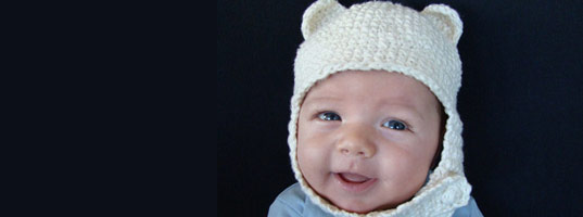 petey rojas, bear ear hat, amy mohlenhoff, baby bear ear hat, crocheted baby hat