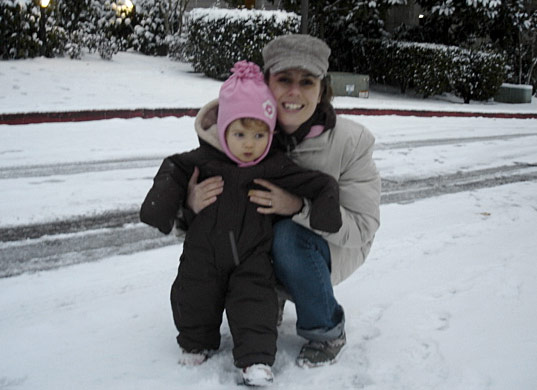 Olivia and Beth in the snow, Beth Shea