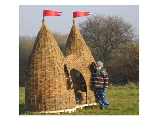 dreaming spires willow playhouse, judith needham, eco-friendly playhouses, sustainable willow, handwoven willow playhouse, playhouse made of willow