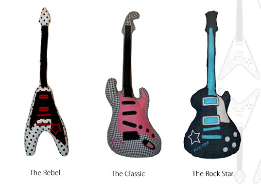craft toys,  eco decor,  eco-friendly kids toys,  Guitar Softies,  soft cushion guitar,  soft guitar toy,  The Grateful Thread