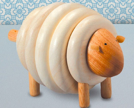 Plan toys wooden lacing sheep inhabitots for Warm biscuit bedding company