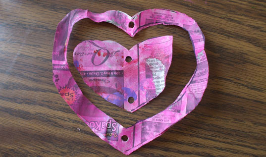 crafts, diy, handmade Valentine's Day cards,  holidays,  how-to, kids, recycled cards, recycled newspaper, Valentine's Day
