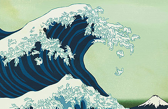 Kozyndan Bunny Blossom, Bunny Wave, The Great Wave of Kanagawa, Bunny japanese wave illustration, Kozy and Dan, Bunny Illustration, Cherry Blossom Illustration, Modern Kids Art, Grownup bunny art, illustration