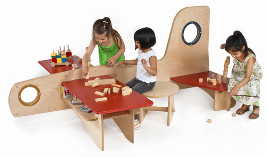 children s playroom furniture tests out greenplay glider at icff inhabitots 11116