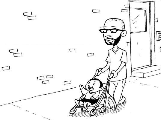 Resident Inhabitot's Dad Desmond Williams pushing his tot in illustrated comic book form