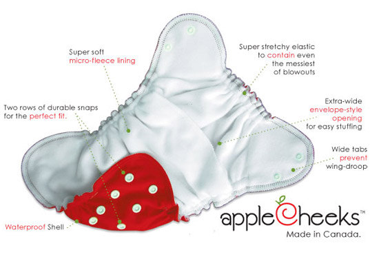 AppleCheeks Reusable Diapers, eco-friendly diapers, cloth diapers, reusable diapers, hemp diapers, bamboo diapers, one size diapers, Canada