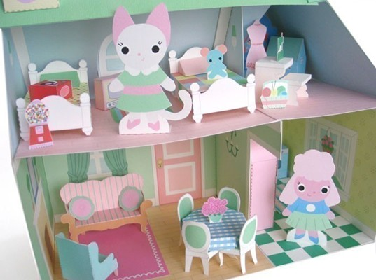 pink paper dollhouse, paper dollhouse, eco dollhouse, green dollhouse, DIY dollhouse, DIY dollhouse furniture, make dollhouse furniture