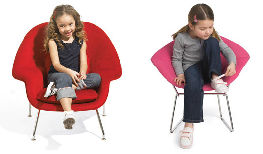 Knoll Kids collection, Eero Saarinen Womb chair, greenguard, Harry Bertoia's Diamond Lounge chair, iconic furniture for kids, kid sized furniture, knoll kids, Mies van der Rohe Barcelona chair