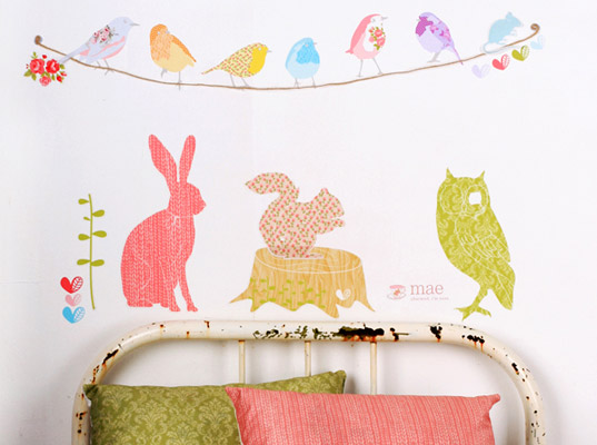 Reusable vinyl free fabric wall stickers by mae inhabitots
