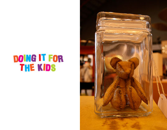 alex green, doing it for the kids, placenta teddy bear, sustainable toy design, teddy bear made from placenta, twin teddy kit'