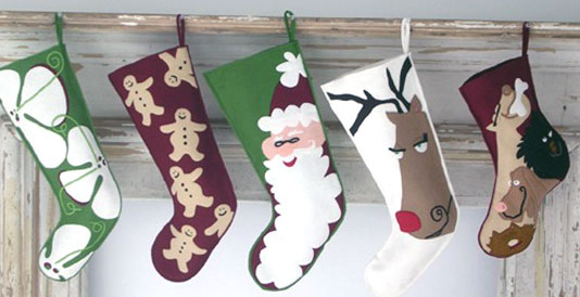 Christmas Stockings, Eco Holiday, felt, green baby, green christmas, wool, Wool Felt Christmas Stockings