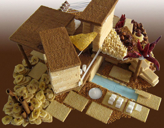 eco-friendly gingerbread house, felt gingerbread houses, gingerbread, kristina hahn atelier, modern gingerbread house