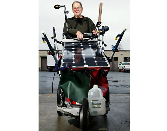 solar powered baby stroller, solar powered stroller, solar stroller, stroller tent, walk across america, bruce maynard, journey across america in a solar powered stroller