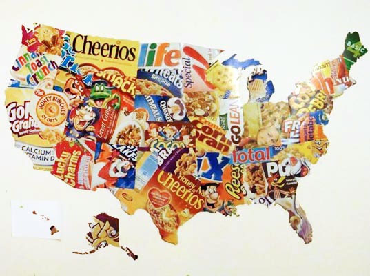 Diy Project Make A Map Of The Usa With Old Cereal Boxes