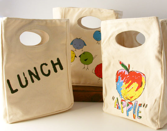 Fluf Organic Cotton Lunch Bags For Back To School Green Design