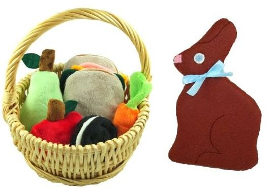 Wool felt chocolate easter bunny from lilly bean market inhabitots green holiday ideas for kids negle Image collections