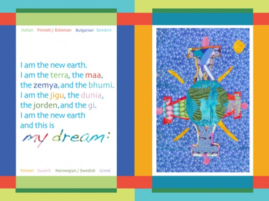kiba kiba, dream of the new earth, collage, children's art