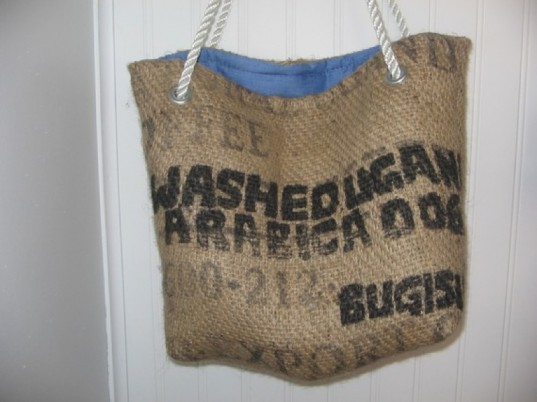 upcycled beach bag, coffee bean bag beach bag, eco-friendly beach bag