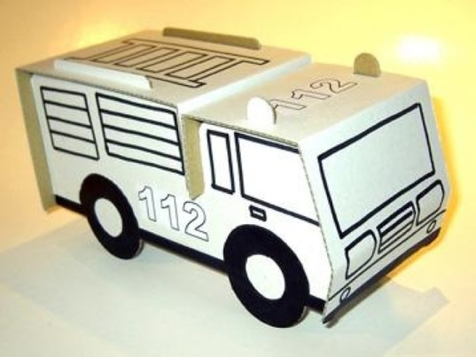 green parties, party favor, recycled cardboard truck