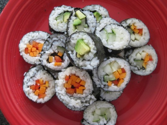 vegetarian lunch, veggie sushi