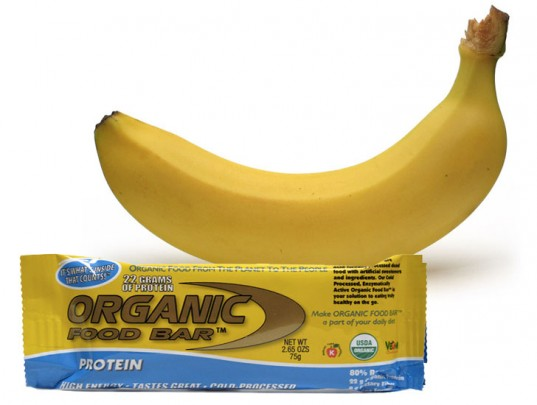 Good snack for tots on planes, banana, organic food bars, organic food bar, power bar, bananas