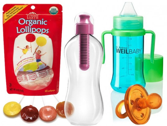 Tips To Alleviate Ear Pressure For Kids on Takeoff and Landing, Bobble bottle, Yummy Earth Organic Lollipops, Natursutten Pacifier, Dr Weil Sippy Cup, Dr. Weil bottle