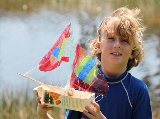 Project #2: Sailboat  What could be more fun than playing outside on a cool, crisp autumn day? How about floating your very own sailboat on a nearby pond or stream. Our easy orange juice carton sailboat, can have a long piece of twine attached to retrieve your sailboat from chilly fall waters - without your child getting wet. Still, allowing them all the whimsy and fun of sailing their own sailboat on the open seas.