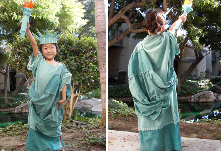 How to make a diy statue of liberty halloween costume inhabitots read on to find out how she created this stunning diy statue of liberty costume then if youre feeling inspired enter your kids homemade ensemble in the solutioingenieria Images