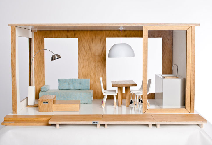 miniio modern dollhouses are green dream homes for barbie. Black Bedroom Furniture Sets. Home Design Ideas