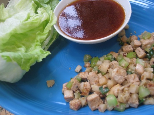 vegan tofu lettuce cups, chinese new year