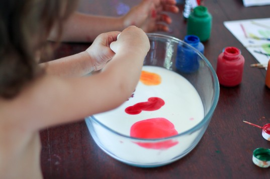 milk, kids' hands, hands, playing, science experiment, food coloring, colors