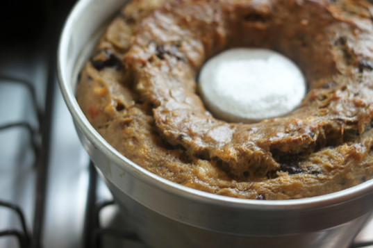 ready banana bread, vegan banana bread, vegan banana bread in the pan,