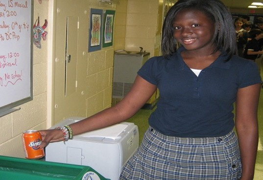girl recycle, recycle in school, school recycling, recycle can, recycle bin in school, middle school girl recycling can