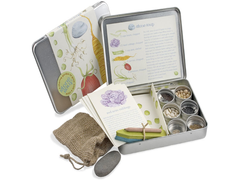 Stone soup garden kit encourages kids to dig into nature for Gardening kit for toddlers
