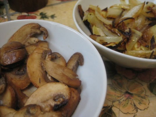 burger toppings, caramelized onions, balsamic-sauteed mushrooms, vegan recipe, healthy recipe