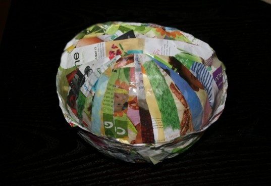recycled paper bowl, recycled paper craft, how to make recycled bowl, diy paper bowl