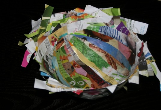 diy recycled bowl, recycled paper craft, paper bowl, how to make a recycled paper bowl