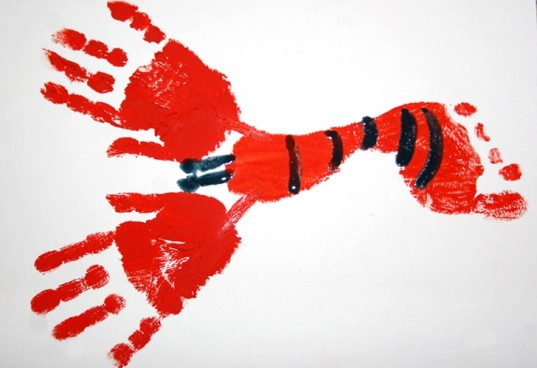 handprint art, footprint art, lobster, handprint lobster