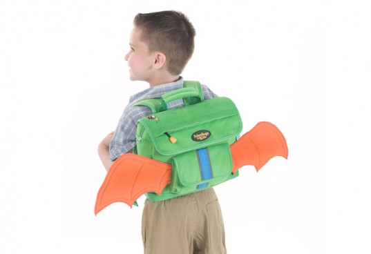 fuzzy flyers, dragon boy backpack, green design, green kids, schoolbags for kids