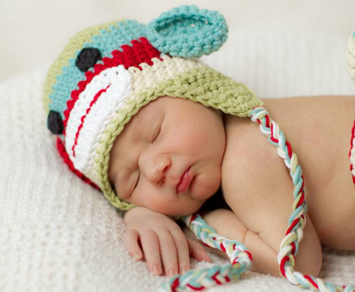 500ad2571a8 Hand Crocheted Sock Monkey Hats For Your Little Monkey. green baby