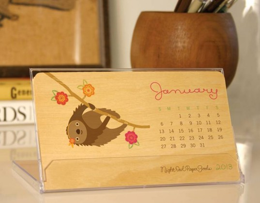 birch calendar, eco calendar, eco gift, green holiday gift, night owl paper goods, sustainable wood calendar, wood calendar