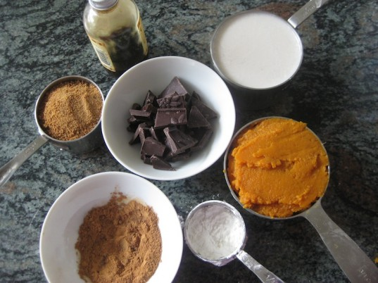 chocolate pumpkin pudding ingredients, vegan recipe, vegan chocolate pudding, recipe