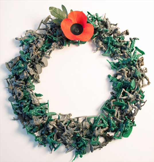 rachel holding, veterans day, toy soldier wreath, recycled toy soldier wreath, green design