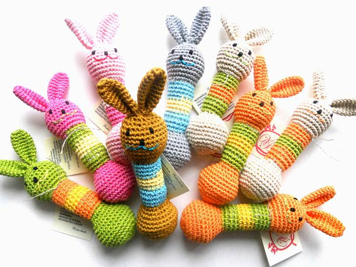 Baby teething toy amigurumi rabbit rattle crochet teether inhabitots negle Gallery