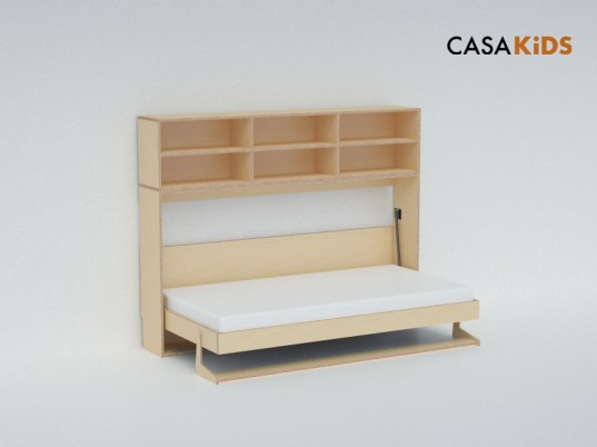 Casa kids 39 tuck bed folds away to save space inhabitots - Fold up beds for small spaces ...