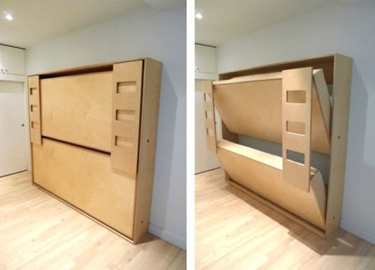 Dumbo Double Tuck Bed Packs Two Folding Beds Into One Wall Unit | Inhabitots