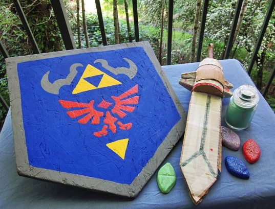legend of zelda, ocarian of time, zelda ocarina, triforce papercraft, zelda papercrafts, link, homemade link hat, eco-friendly toys, video game toys, wooden sword, wooden shield, homemade zelda toys